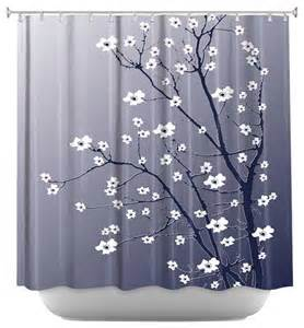 Blue And Grey Shower Curtains Shower Curtain Artistic Blooming Tree Blue Grey Contemporary Shower Curtains By Dianoche