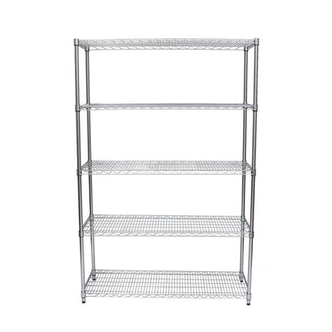 nsf wire shelving 48 in w x 18 in d 5 tier nsf chrome wire shelving rack decorative shelf tbfz 0910