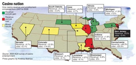 map of casinos in usa study finds recession costs casinos billions top stories