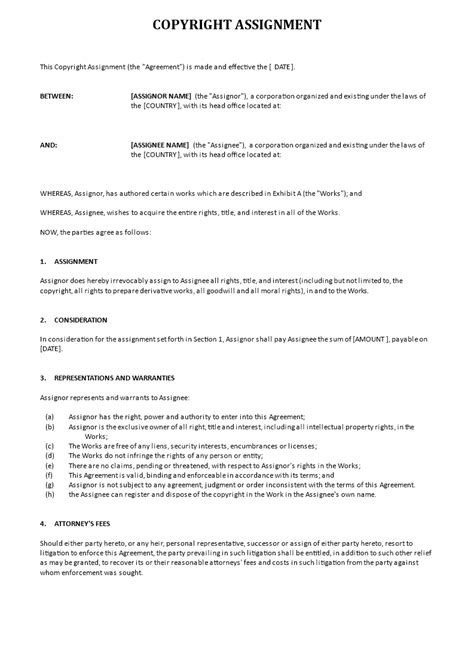 copyright assignment word templates