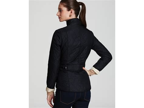 barbour flyweight cavalry quilted jacket in black lyst