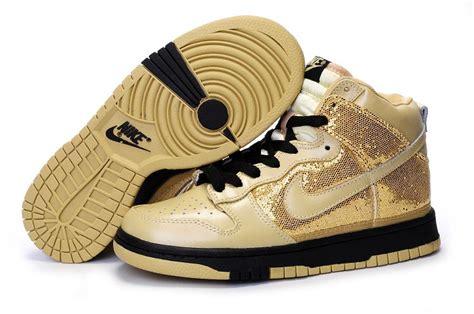 fashion high tops dunk sequin nike gold