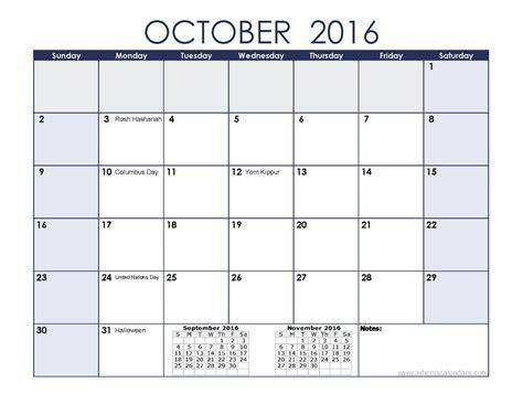 October Calendar October 2016 Calendar With Holidays Printable 7 Templates