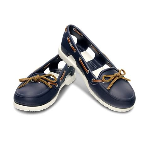 New Crocs Line Boat Navy White crocs womens line boat shoe navy white lightweight