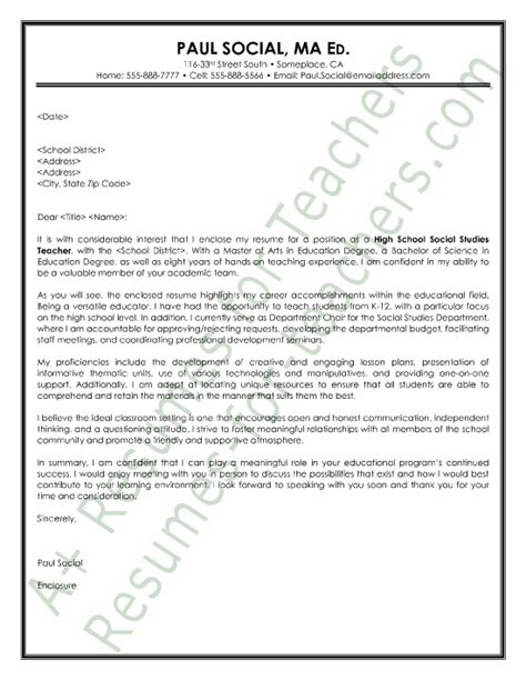 High School Social Worker Cover Letter by Social Studies Cover Letter Sle And Principal Cover Letter Sles