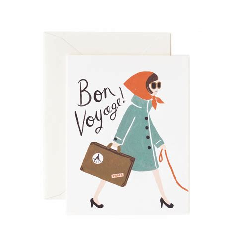 printable greeting cards bon voyage bon voyage greeting card by rifle paper co made in usa