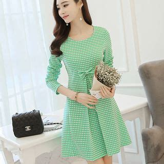 Sleeve Bow Accent Dress checked bow accent sleeve dress asian fashion