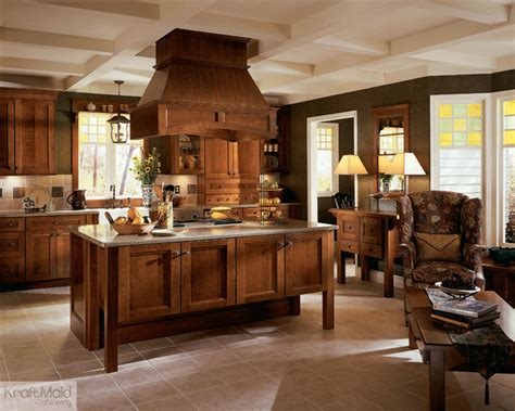 Houzz Kitchens With Islands kraftmaid cherry recessed door in cognac rustic