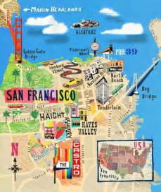 San Francisco On Map by Illustrated Map Of San Francisco San Francisco