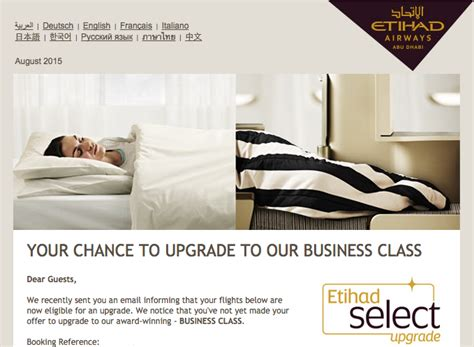 emirates upgrade offer email making an offer to upgrade to etihad biz class is it