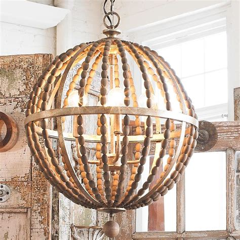 Wood Orbit Chandelier Wooden Bead Globe Chandelier Rustic Wood Classic And Metals