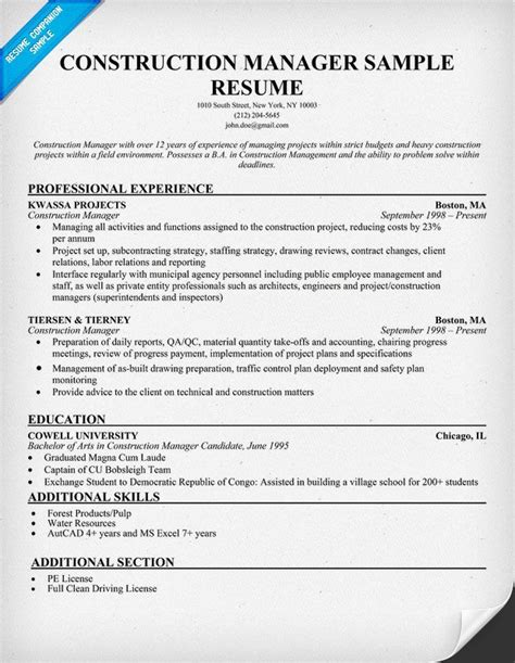 21 Best Best Construction Resume Templates Sles Images On Pinterest Resume Templates Construction Manager Resume Template