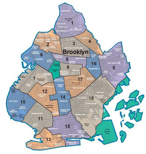 sections of brooklyn nycdata maps boroughs with community districts