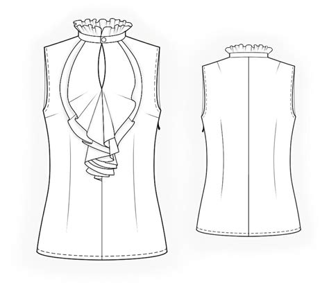 drawing blouse pattern sleeveless blouse with frilled front sewing pattern