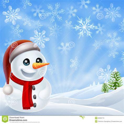 christmas snowman in winter scene stock vector image