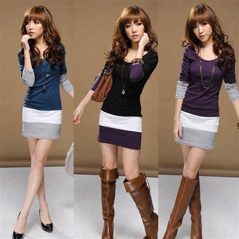 Dress Korea Stripe Import Casual delicate style s sleeve t shirts o neck