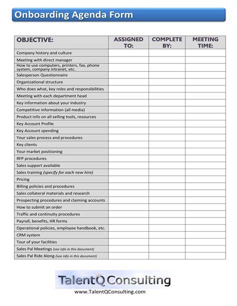 onboarding template sle onboarding agenda form enablement