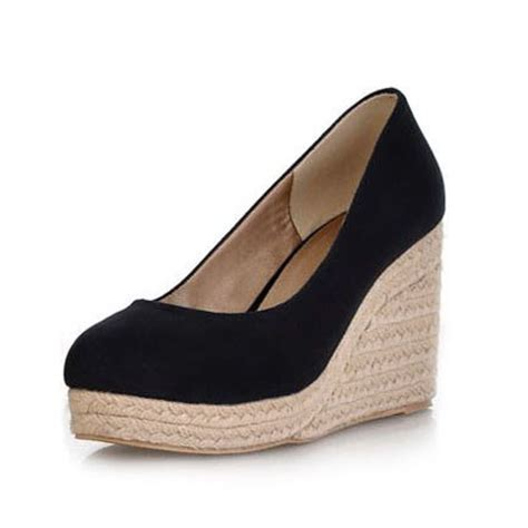 Promo Wedges Flat Form Wanita Fantastic 2014 new high heels platform wedge shoes toe vintage flock wedges for high