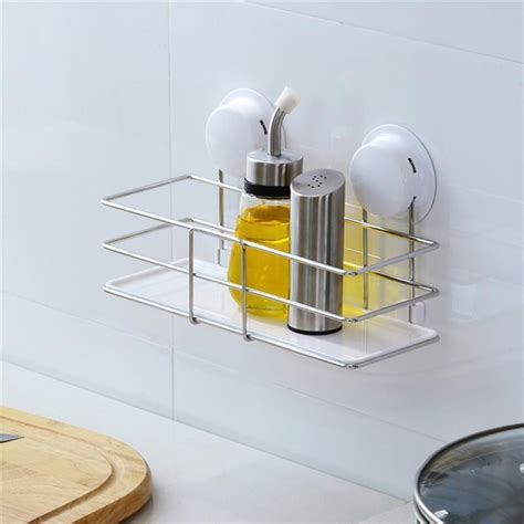 adhesive bathroom shelf suction cup adhesive wall mounted stainless steel plastic