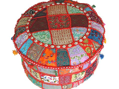 indian poufs ottomans indian pouf ottoman multicolor patchwork big round