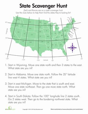 4th grade geography worksheets state scavenger hunt geography worksheets and social studies