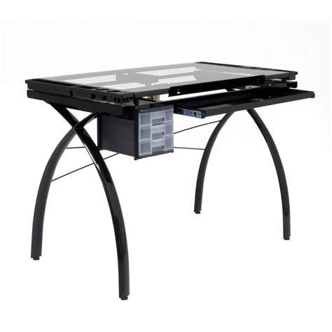 Futura Drafting Table Studio Designs Futura Drafting And Craft Table Color Black Frame And Clear Glass 10072