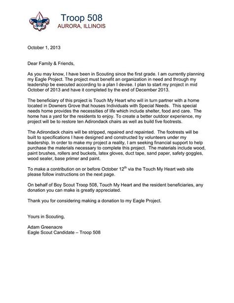 Fundraising Letter For Boy Scouts Eagle Scout Donation Letter Docoments Ojazlink