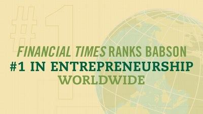 1 Year Mba In Entrepreneurship Canada by Babson Mba Program Named No 1 For Entrepreneurship By The