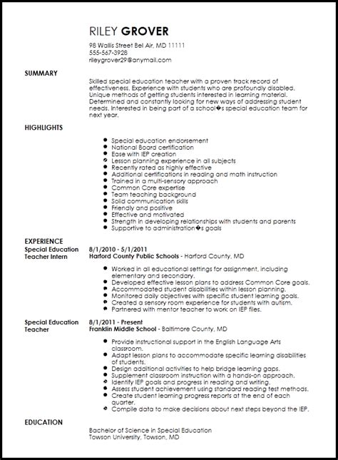 Educational Resume Template by Free Professional Special Education Resume