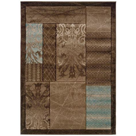 home accents rug collection linon home decor milan collection brown and aqua 5 ft x 7