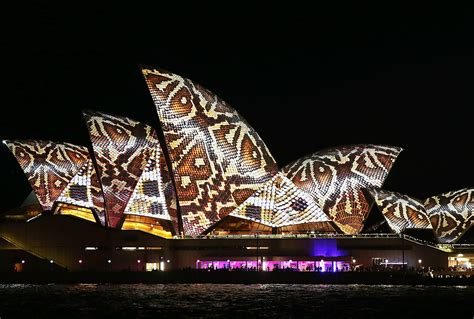 sydney opera house lights up in glorious patterns for the