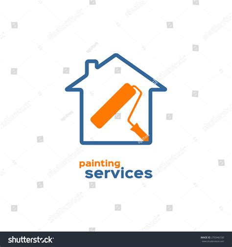 How To Start A Interior Decorator Business Painting Services Logo Roller Brush House Stock Vector