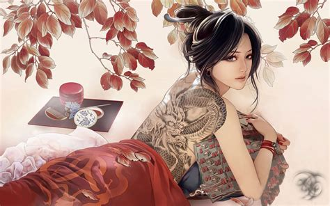 geisha tattoo wallpaper cartoon chinese girl with tats chrome geek