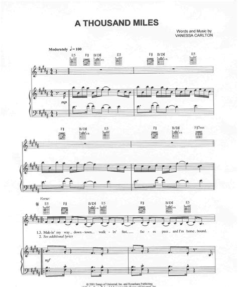 tutorial piano a thousand miles a thousand miles actual piano sheet music by vanessa