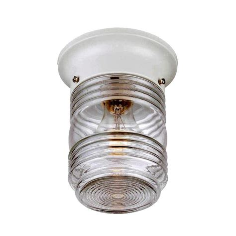 Light Fixtures Home Depot Ceiling Acclaim Lighting Builder S Choice Collection Ceiling Mount 1 Light White Outdoor Light Fixture