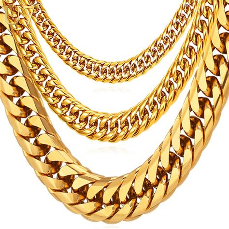 U7 Hip Hop Chains For Men Jewelry Wholesale Yellow Gold