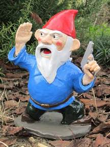garden gnomes with guns combat garden gnome officer with pistol