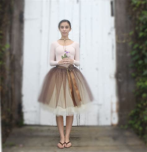 brown and ivory tulle skirt for chocolate brown satin