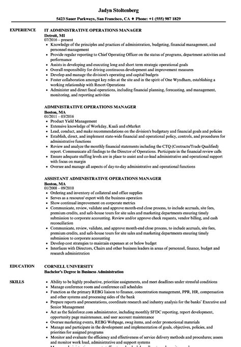 Administrative Operations Manager Sle Resume by Administrative Operations Manager Resume Sles Velvet