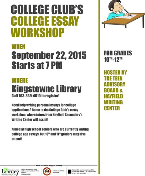 College Application Essay Workshops College Club College Essay Workshop Kingstowne Tab