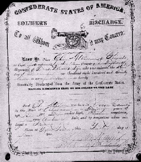Civil Records Civil War Discharge Papers