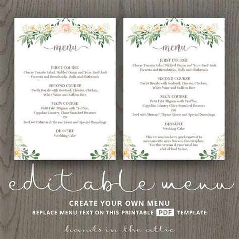 85 Best Wedding Menu Cards Images On Pinterest Menu Templates Wedding Menu Cards And Wedding Rehearsal Dinner Menu Template
