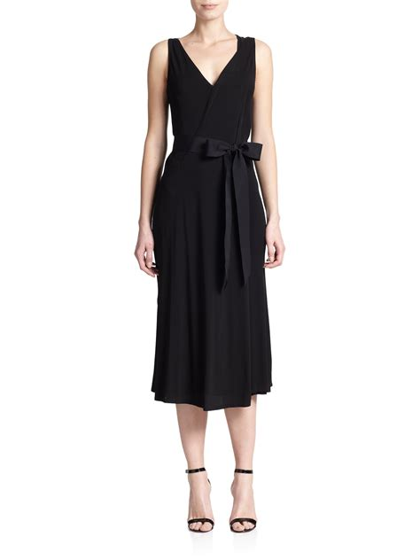 jersey draped dress donna karan draped jersey dress in black lyst