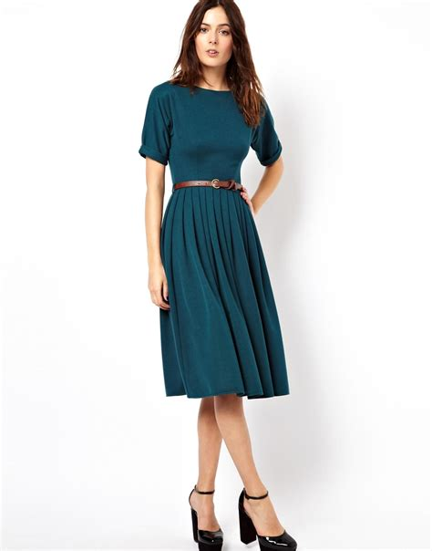 Meidi Dress asos midi dress with skirt and belt in green lyst