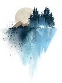 blue mountain watercolor art print by white doe prints