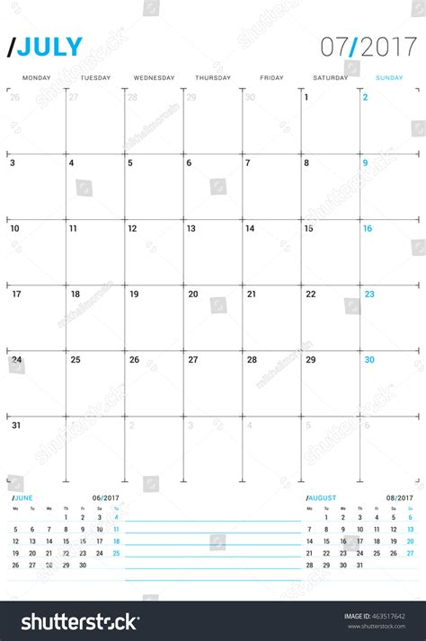 calendar planner july 2017 stock vector illustration of july 2017 vector print template monthly stock vector