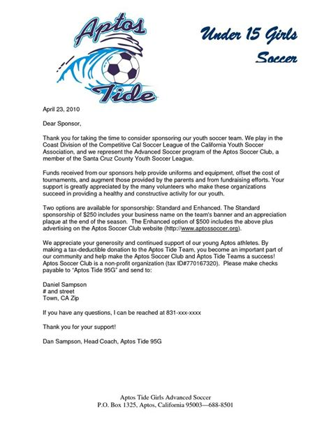 Donation Letter For Youth Football Parent Thank You Letter From Youth Athletes Sponsorship Letter Sle Projects To Try