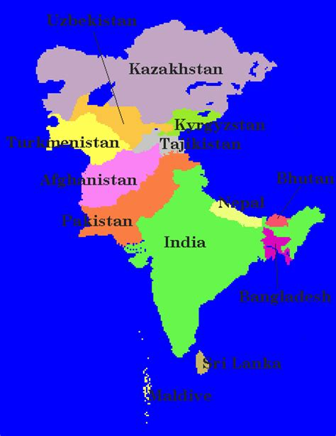 map of central and south asia map of south central asia mexico map