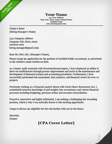 application letter cpa accounting finance cover letter sles resume genius