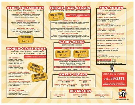 Top Bar Burger Menu by Menu For The Burger Freak 6880 Powerline Rd